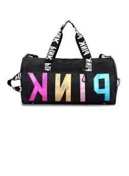 VS Pink Duffel Gym Bag Black