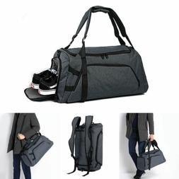 Waterproof Duffle Gym Bag Backpack Travel w/ Shoes Sport Com