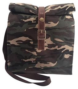 Simple Supplies Waxed Canvas Lunch Bag   Green Camouflage La