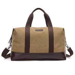 Weekender Travel Overnight Bag Canvas Leather Duffel Tote