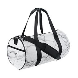 Naanle White Marble Pattern Gym bag Sports Travel Duffle Bag