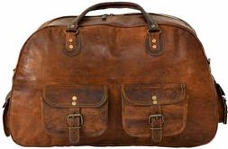 Women's genuine Leather large vintage duffle travel gym week